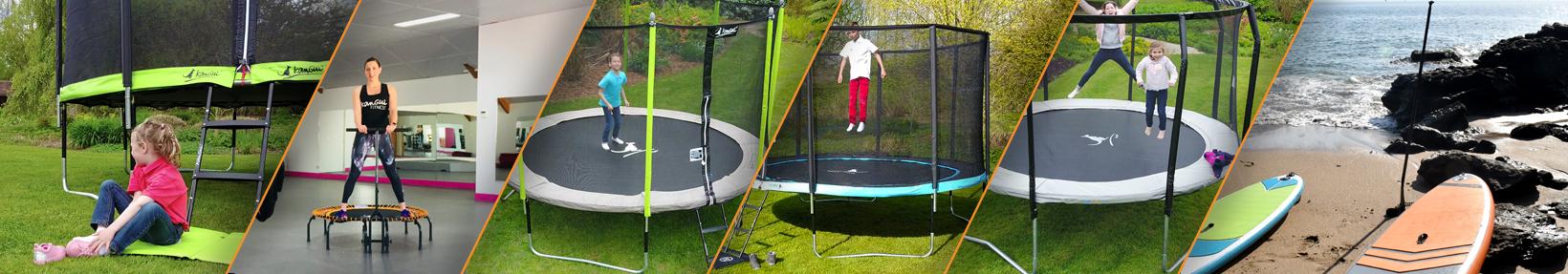 bannière de présentation de toute la gamme de produits kangui. Accessoires, pièces détachées, trampoline de jardin, trampoline fitness, stand up paddle gonflable
